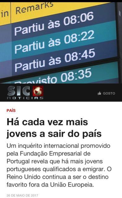 Excerto da notícia no site da Sic Notícias